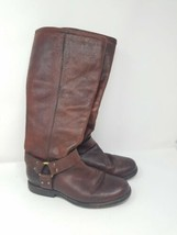 Frye women 7.5B brown Phillip Harness tall boots leather - $123.75