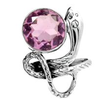 Beautiful Snake Kunzite Ring, Size 8.5 US, 925 Silver - $32.00