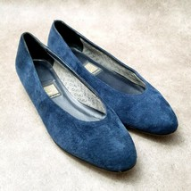 Nina Womens Sz 9 N Blue  Suede Slip On Low Wedge - $24.99
