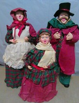 Christmas Crush Paper Carolers Old Figures Folkart 3 Holiday Home Decora... - $38.71