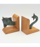 Vintage Cast Metal Brass Fish and Wood Bookends Book End Pair - $103.94