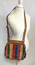 Fossil Leather Suede Multicolor Rainbow Patchwork Cross Body Bag Purse T... - $28.04