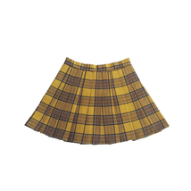 Women Girl YELLOW Pleated Plaid Skirt Plus Size School Style Pleated Plaid Skirt image 4