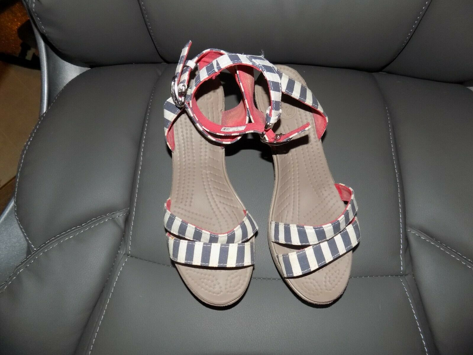 Crocs Leigh II Striped Ankle Strap Wedge Sandals Size 7 Women's EUC - $36.00