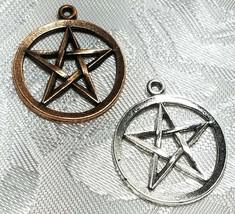 Pentagram Circle  FINE PEWTER PENDANT CHARM - 21mm D x 25mm W x 1.5mm L