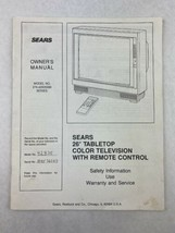 """Sears 26"""" Tabletop Color Television 274.42835090 Series Owner's Manual - $14.03"""