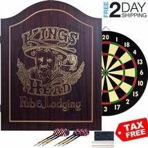 Dartboard Set Dart Board Cabinet Wood Game Room Display Professional Sco... - $80.40
