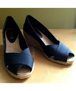 NEW! Ralph Lauren Cecilia Black Shantung Peep Toe Espadrille Sandals 5B ... - $75.24