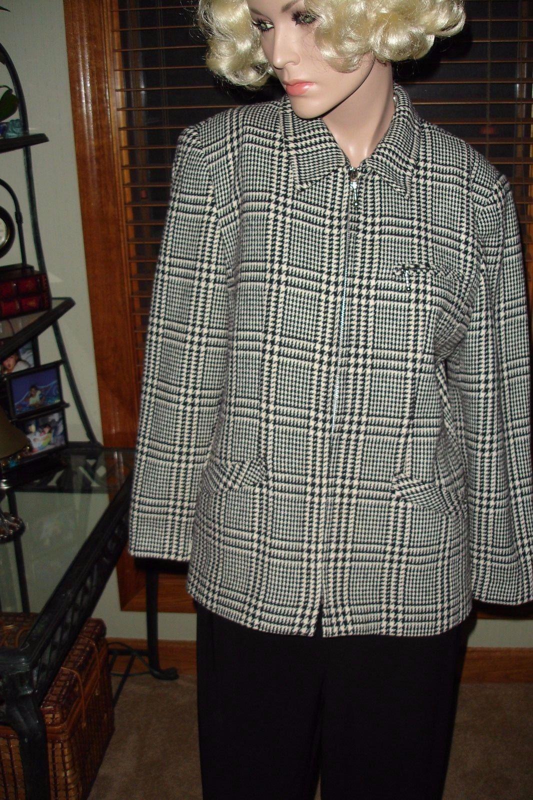 Laura Scott Black/White Houndstooth Plaid Blazer Jacket Lined Career/Casual Sz 8