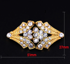 Gold Rhinestone Crystal Wedding Closure Hook and Eye Sew On Button Clasp - $6.79