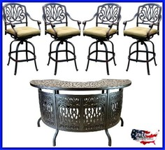 Antique Patio Bar Set Swivel Stools Outdoor Table Metal Industrial Furni... - $3,647.04