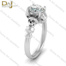 Death's Head Witchy Skull Ring Women Solid 10k White Gold Gothic Wedding... - £531.40 GBP