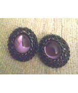 Vintage Japanned Metal Purple Cabochon Oval Pierced Earrings  - $3.80