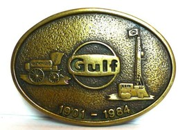 Gulf Oil  belt buckle brass vintage 1984 - $55.34