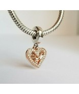 NWT AUTHENTIC PANDORA ROSE™ SPARKLING FREEHAND HEART DANGLE CHARM #78869... - $35.01