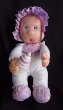 Lollipalooza Goldberger Baby Doll Thumb Sucking Rubber Bottle Face Purple White - $27.39