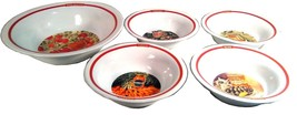 POTTERY BARN PASTA RUSTICA BOWL SET 5 BOWLS VEGETABLE GRAPHIC DESIGN SPA... - $34.99