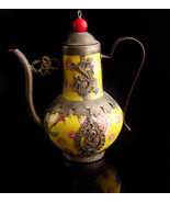 Antique teapot - signed dragon medallion - yellow pottery porcelain -  v... - $125.00