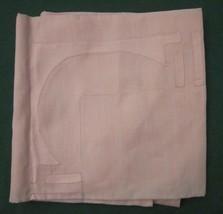 """ANTIQUE LINEN TABLECLOTH PEACHY PINK GEOMETRIC APPLIQUES HEM STITCH 37"""" ... - $18.99"""