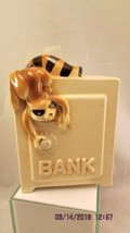 Little Bandit Raccoon on Safe Ceramic  Piggy Bank by Quon Quon made in ... - $10.39