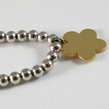 18k YELLOW WHITE GOLD BRACELET SMOOTH BRIGHT BALLS & DAISY FLOWER MADE IN ITALY image 2