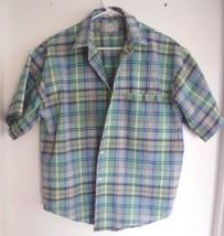 LEVI'S Shirt MEDIUM Plaid Short Sleeve Button Front Green Blue Yellow Pink Men's - $19.79