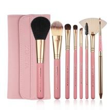 Zoreya Makeup Brushes, 8pcs Travel Brush Set With PU Leather Case Pink - $11.96