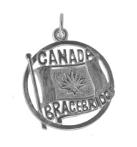 Sterling Silver 925 Bracebridge Ontario Canada Day Flag charm Jewelry pe... - $22.35