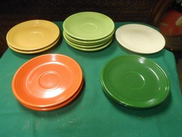 Great Fiesta Pottery Set Of 12 Saucers Multi Colors - $61.96