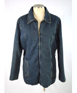 Vtg 1990s LEE Retro Grunge Blue Denim Quilt Lined Full Zip Jean Jacket W... - $24.74