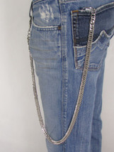 "Men Thick Silver Chunky Metal 30"" Long Double Wallet Chain KeyChain Punk #7034 - $21.55"