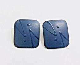Vintage Retro Square Blue Enamel Post Earrings  Beautiful Cloisonne Floral - $10.57