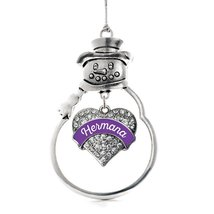 Inspired Silver Purple Hermana Pave Heart Snowman Holiday Ornament - $14.69