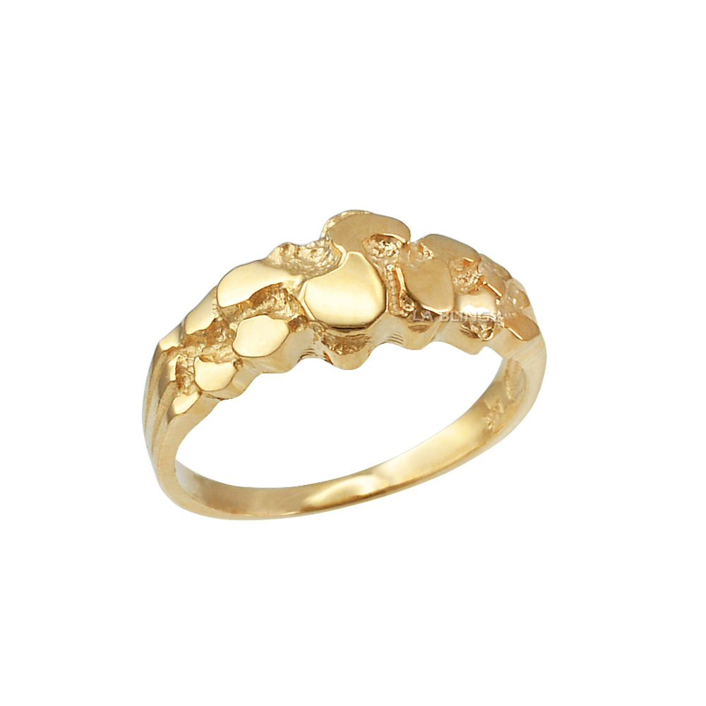 10K Yellow Gold Womens Nugget Ring