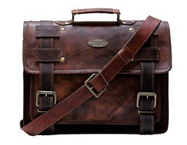 "Messenger bag 15"" leather men's shoulder laptop women satchel vintage bags - $64.35"