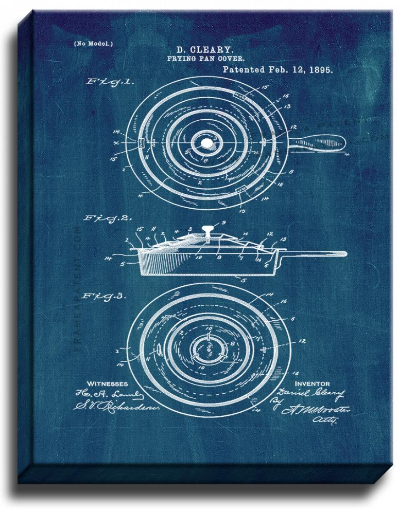 Primary image for Frying Pan Cover Patent Print Midnight Blue on Canvas