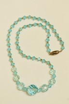 Gorgeous vintage/antique pale blue cut faceted glass choker necklace gra... - $32.66