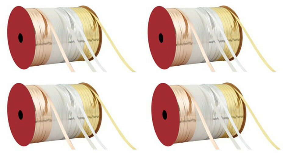 "Lot of 4 Rolls of Thin 3/16"" W Gold/White/Silver Flat Curling Ribbon 70Ft NEW"