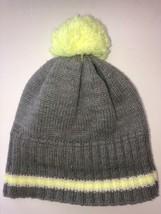 Gymboree Unisex Winter Hat Gray/Neon Yellow w/Pom Pom Size Medium 7/8 yrs EUC - $8.00