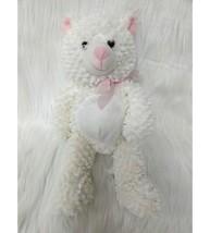 "Goffa 14"" Chenille Cat Kitten White Pink Soft Plush Stuffed Animal Girl Toy B202 - $19.97"