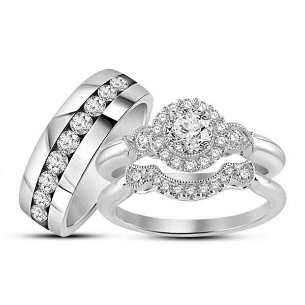 Solid 14k White Gold Plated 925 Silver Diamond Wedding Engagement Trio Ring Set