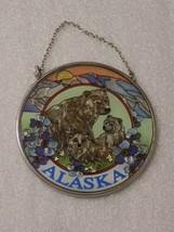 "Alaska Bears Suncatcher AMIA 4.5"" Round Hand Painted Glass - $21.53"