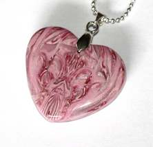 OOAK Mirror Image Heart Pendant-Dark Red, Pale Pink, Pearl, White, Trans... - $25.00