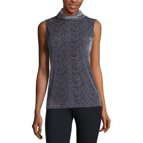 Liz Claiborne Sleeveless Turtleneck T-Shirt Size M, L Charcoal New  - $16.99