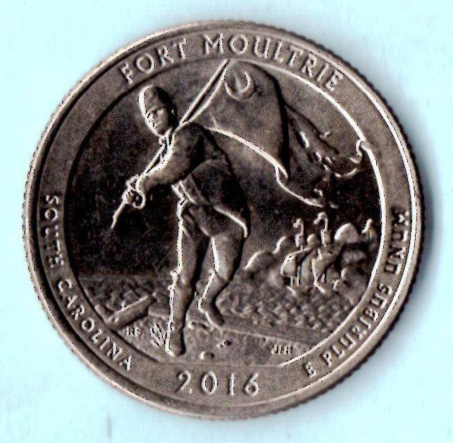 2016 D Washington Quarter - South Carolina - Fort Moultrie - About AU55