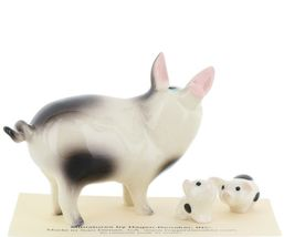Hagen Renaker Miniature Pig Black and White Papa and Piglets - Set of 3 image 3