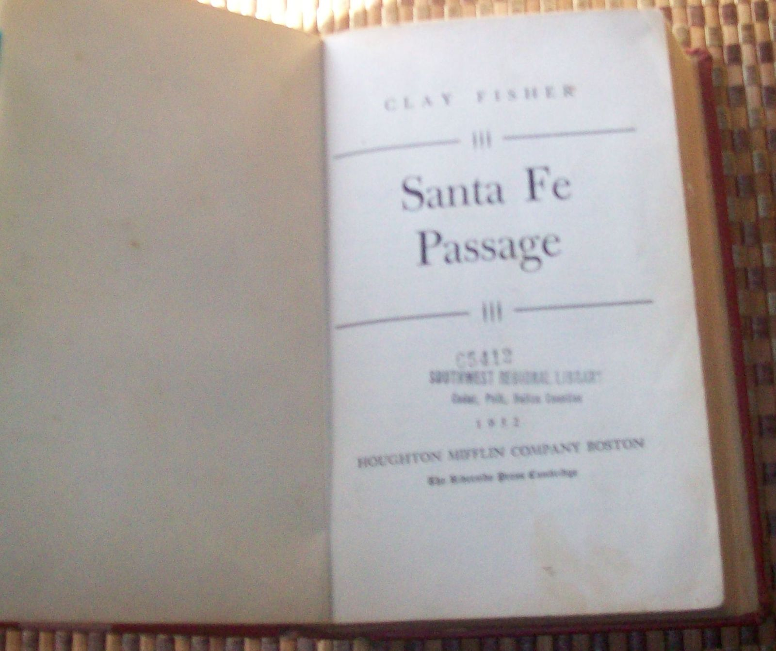 Santa Fe Passage by Clay Fisher 1952 HB Western