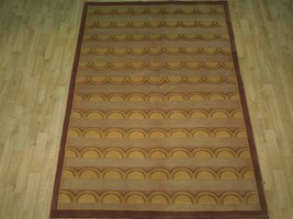 Beige Rug 5 x 8 Wool & Silk Centered Waves Nepalese Hand-Knotted Rug image 3