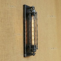 Grand Edison Sconce Pencil Cage Wall Lamp T30 Bulb Aged Steel Lighting F... - $62.72