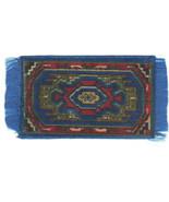 Vintage Miniature Dollhouse Ornate Blue Tapestry Area Rug 1960s 1:12 - $29.00
